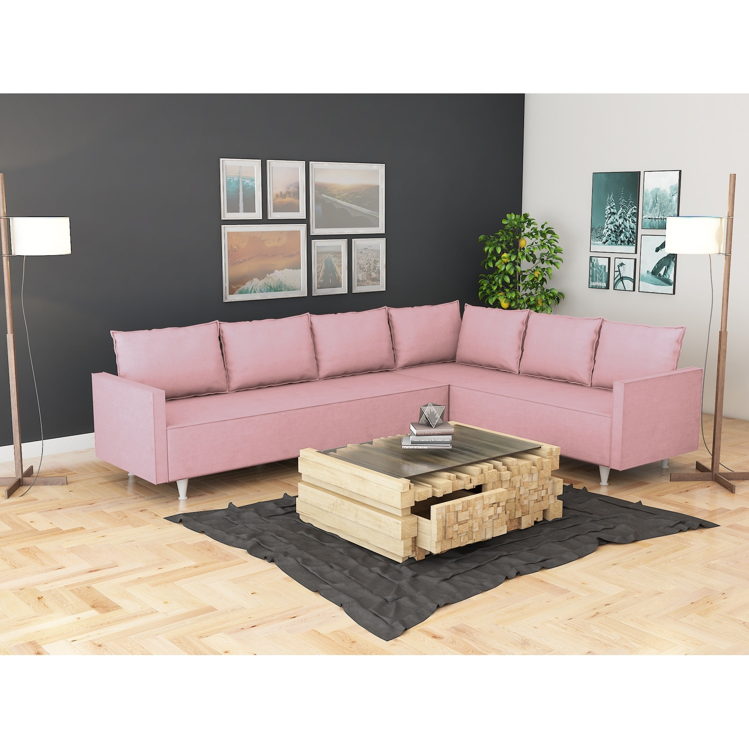 Picture of: Modern Metal Frame Upholstered Sectional Sofa Overstock 31748391