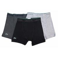 adf25698d7ba LACOSTE Men's Black Charcoal Gray 100% Cotton Logo Knit Boxer Brief 3 Pack