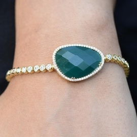 Emerald Green Gemstone Bracelet Womens Bracelet Tennis Link Solitaire Stone Simulated Diamonds