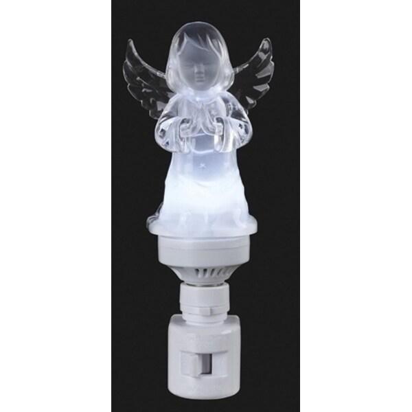 """6.5"""" Icy Crystal LED Lighted Praying Angel Christmas Night Light"""