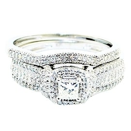 Princess Cut Diamond Bridal Wedding Ring Set 10K White Gold 1/2cttww 9mm Wide 2pc Set(0.5cttw)