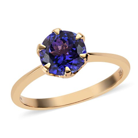 Shop LC Yellow Gold AAA Blue Tanzanite Solitaire Ring Ct 2.35