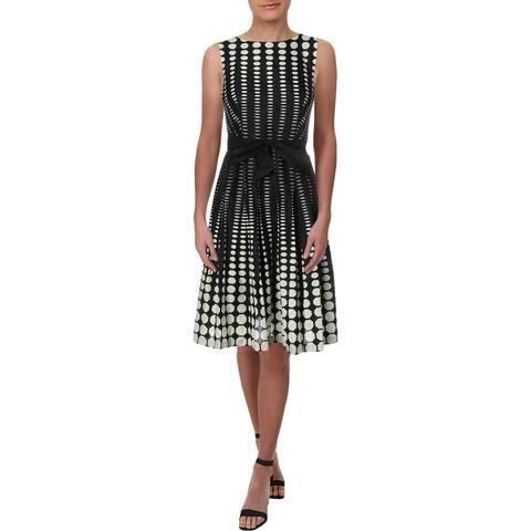 Anne Klein Womens Scuba Dress Polka Dot Pleated - Black/White
