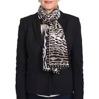 Roberto Cavalli Animal-Printed Silk Scarf Black/white/brown