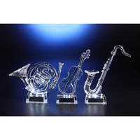 "Pack of 6 Icy Crystal Decorative Illuminated Musical Instrument Figurines 9"" - Clear"