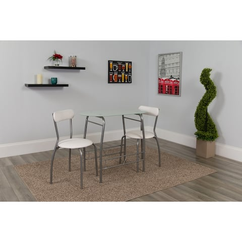 Sutton 3 Piece Space-Saver Bistro Set with Glass Top Table and Vinyl Chairs