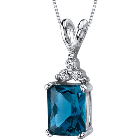 """Natural London Blue Topaz 2.5 Carats Pendant in Sterling Silver, 18"""""""