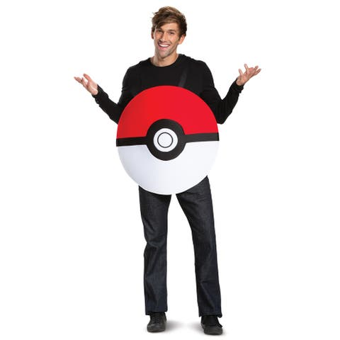 Disguise Pokeball Classic Adult Costume - Red/White - One Size Fits Most