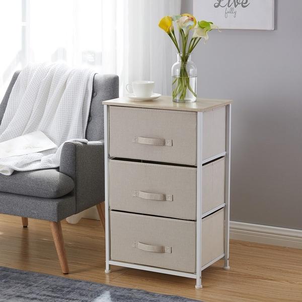 3 Drawer Vertical Storage Linen Fabric Dresser Tower