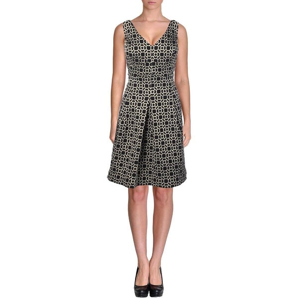 Lauren Ralph Lauren Womens Cocktail Dress Metallic Double V