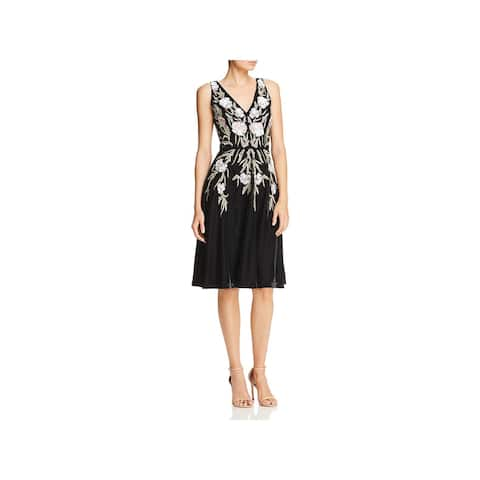 Aidan Mattox Womens Cocktail Dress Velvet Beaded