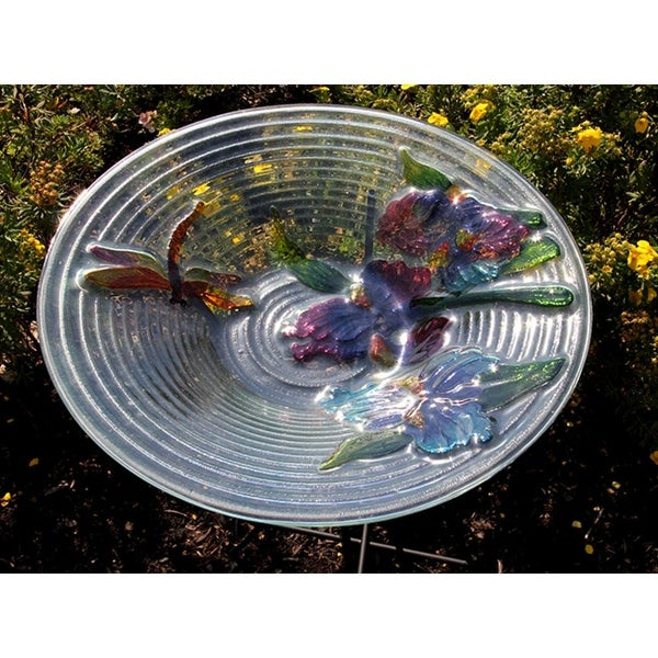 "21"" Hand Painted Glass Dragonfly and Flower Spring Outdoor Garden Bird Bath"