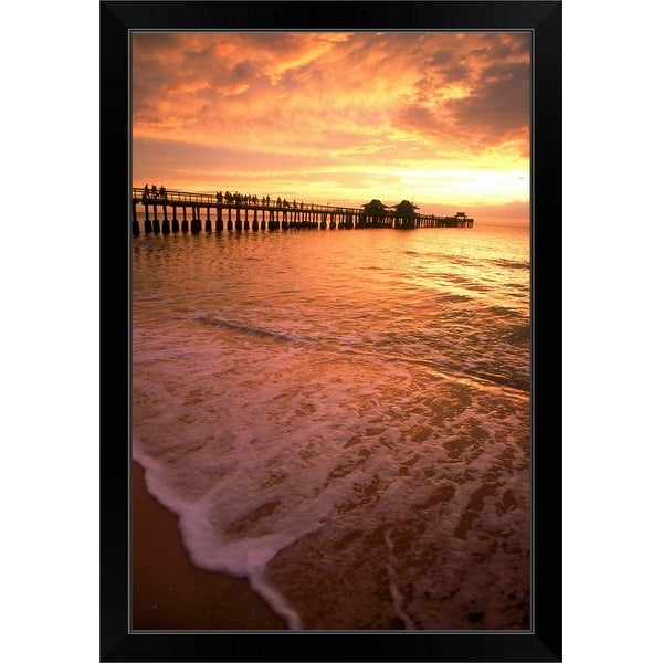 """Sunset by pier, Naples Beach, FL"" Black Framed Print"