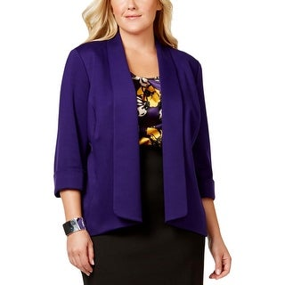 Kasper Womens Plus Open-Front Blazer Cuffed 3/4 Sleeves