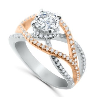 Bridal Engagement Ring Two Tone Rose-Gold Tone and White Silver 1.5ctw CZ