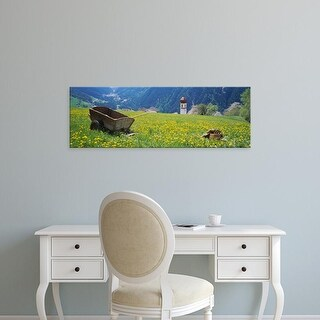 Easy Art Prints Panoramic Images's 'Wheelbarrow in a field, Austria' Premium Canvas Art