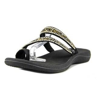 Easy Street Glance Women Open Toe Canvas Black Slides Sandal