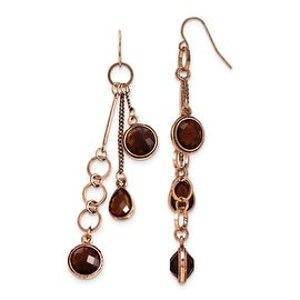 Copper Circle Filigree w/Sienna Crystal Dangle Earrings