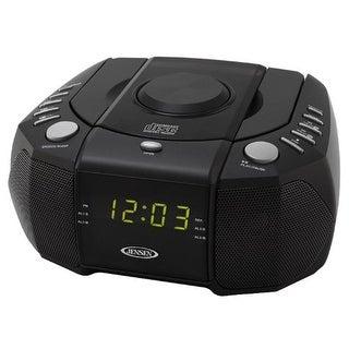JENSEN JENJCR310B Jensen Dual Alarm Clock AM/FM Stereo Radio with Top-Loading CD Player