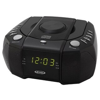 JENSEN JENJCR310B Jensen Dual Alarm Clock AM/FM Stereo Radio with Top-Loading CD Player