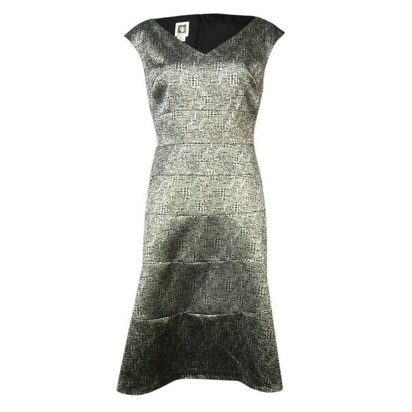 Anne Klein Women's V-Neck Metallic Woven Flared Dress - Gold/Black