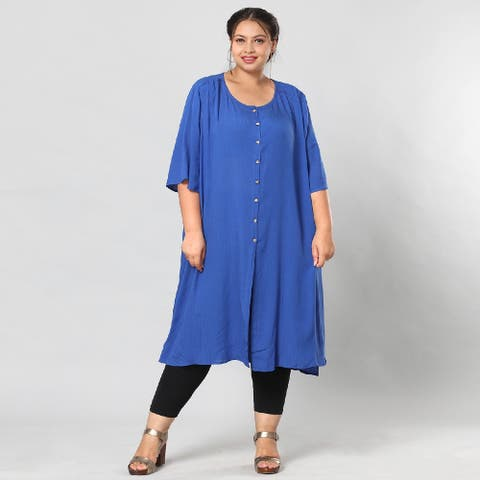 Shop LC Blue Rayon Top with Front Closure with Button-L/XL Loose Fit - L/XL
