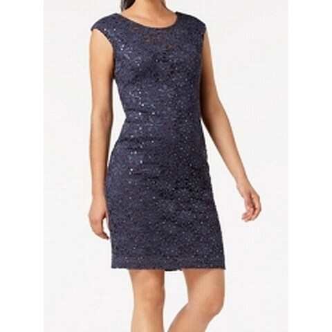 Connected Gray Women's Size 6 Floral Lace Sequined Sheath Dress
