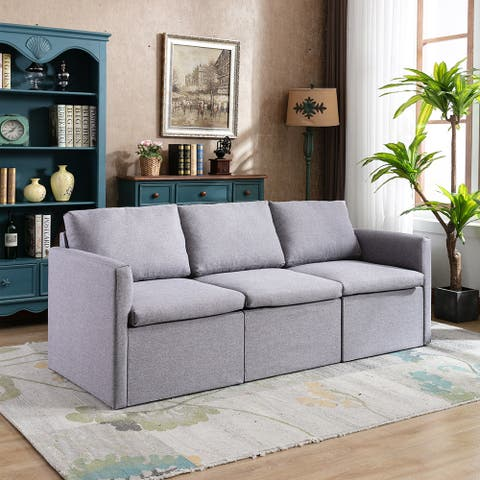 3-seat Sofa Couch with Modern Linen Fabric for Living Room