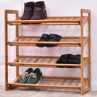 Costway 4 Tier Bamboo Shoe Rack Entryway Shoe Shelf Holder Storage Organizer