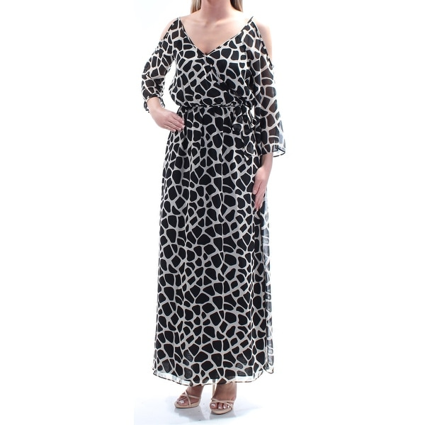 f947003876 Shop BAR III Womens Beige Cold Shoulder Animal Print Long Sleeve V Neck Maxi  Blouson Dress Size: 2XS - Free Shipping On Orders Over $45 - Overstock - ...