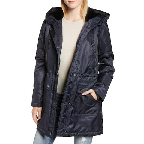 Kensie Womens Coat Navy Blue Size Small S Fleece Lined Hooded Parka