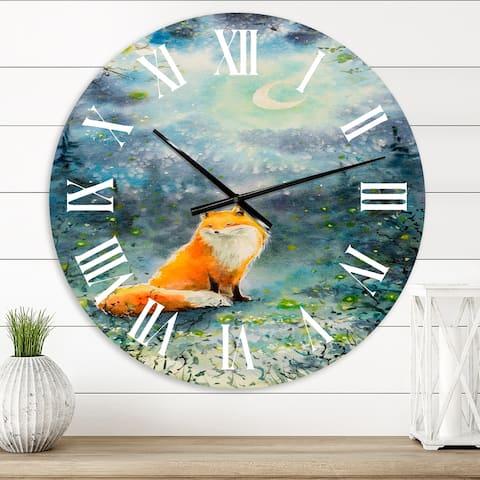 Designart 'Fox Over A Night Sky' Children's Art wall clock