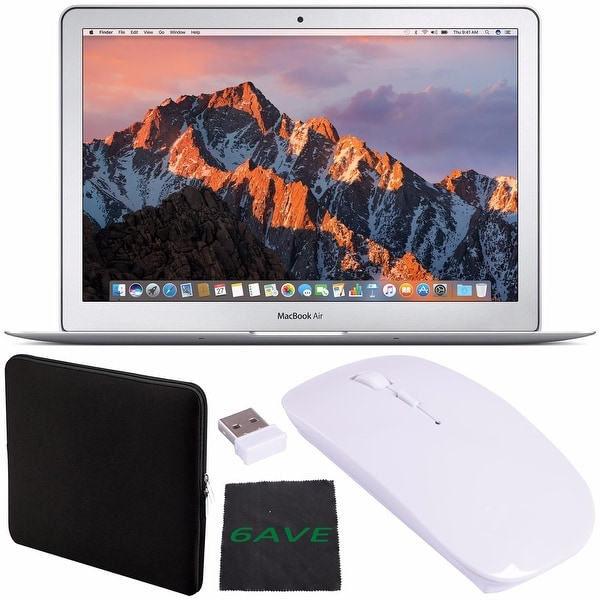 "Apple 13.3"" MacBook Air 128GB SSD #MQD32LL/A + Padded Case For Macbook + Fibercloth + Optical Wireless Mouse Bundle"