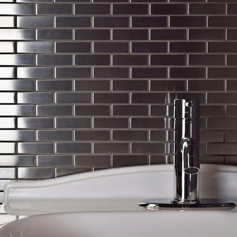 """SomerTile Meta Subway 10.5"""" x 12.25"""" Stainless Steel Metal Over Ceramic Mosaic Tile"""