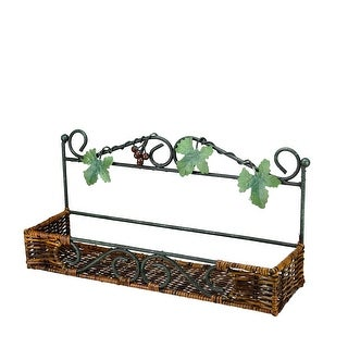"""18.5"""" Green and Brown Rattan and Iron Decorative Wall Rack with Grape Vines"""