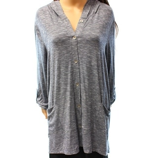 Style & Co. NEW Blue Womens Size XL Hooded Button Down Cardigan Sweater