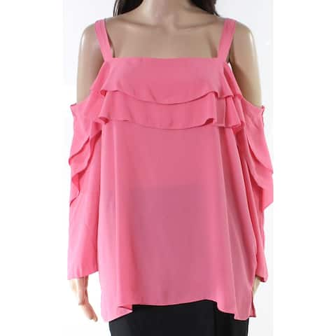 NYDJ Pink Womens Size Large L Solid Tiered Cold Shoulder Blouse
