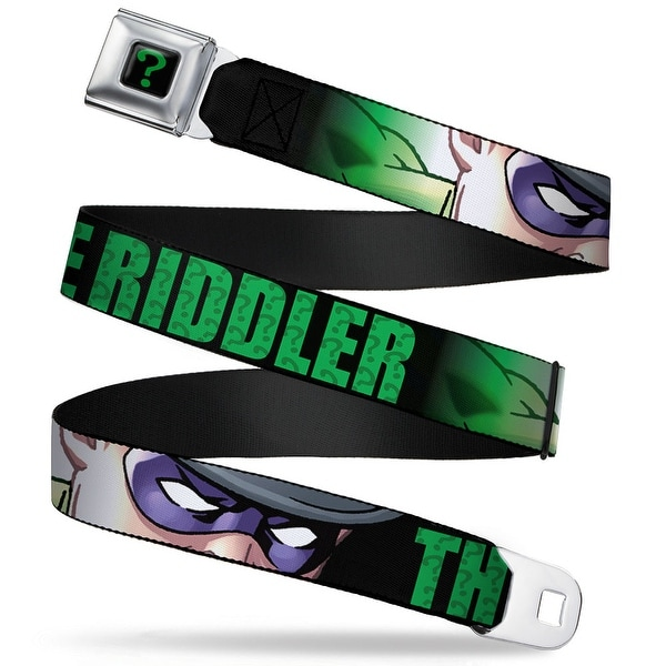 "Riddler ""?"" Full Color Black Green The Riddler Face Close Up Black Green Seatbelt Belt"