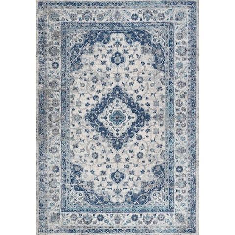 JONATHAN Y Indhira Ornate Medallion Persian Blue/Gray Area Rug