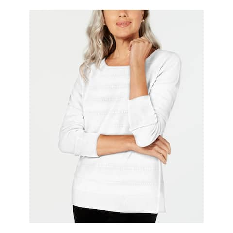 KAREN SCOTT Womens White Long Sleeve Crew Neck Sweater Size PXL