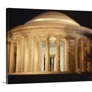 """Jefferson Memorial illuminated at night, Washington DC"" Canvas Wall Art"