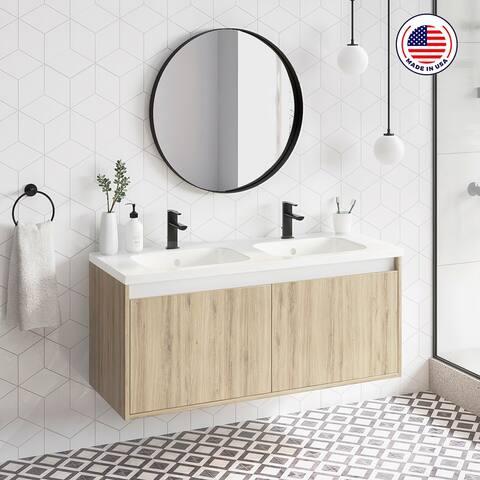 "48"" Modern Bathroom Vanity Cabinet Village Set WF440 Ginger Oak Wood W 48 X H 20 X D 18 in cabinet + double sink"