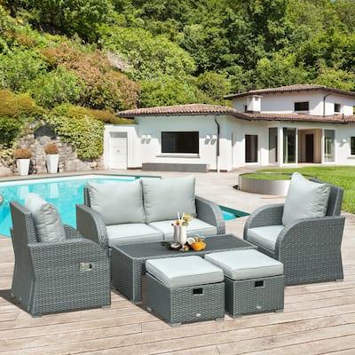 Outsunny 6 PCS Outdoor Rattan Wicker Sofa Set Patio All Weather Furniture w/ Tea Table & Cushion for Backyard Garden Grey