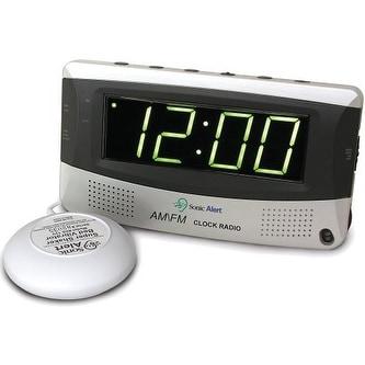 Sonic Alert SBR350ss Alarm Clock with Bed Shaker & Radio
