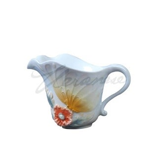White Porcelain Creamer with Yellow Butterfly & Orange Poppy