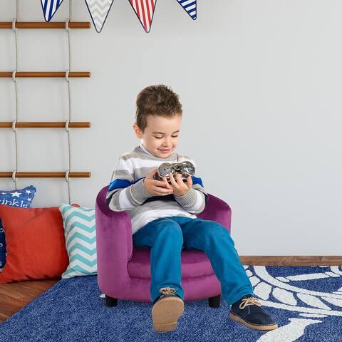 Qaba Kids Sofa Comfortable Fabric Wooden Frame Seat Armrest Plastic Legs Children Chair Cozy