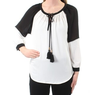 Womens Ivory Cuffed V Neck Top Size XS