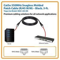 Tripp Lite N001-003-Bk 3' Cat5e 350Mhz Snagless Molded Patch Cable (Rj45 M/M), Black