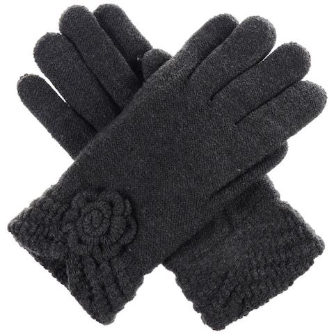 BYOS Womens Warm Winter Knit Fashion Gloves, Fleece Lined