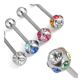 """Surgical Steel Barbell with Multiple Crystals - 14 GA 5/8"""" Long (6mm Balls) (Sold Ind.)"""